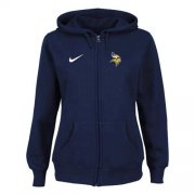 Wholesale Cheap Nike Minnesota Vikings Ladies Tailgater Full Zip Hoodie Blue