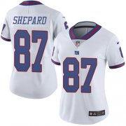 Wholesale Cheap Nike Giants #87 Sterling Shepard White Women's Stitched NFL Limited Rush Jersey