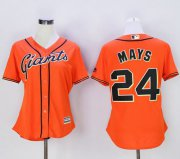 Wholesale Cheap Giants #24 Willie Mays Orange Women's Alternate Stitched MLB Jersey