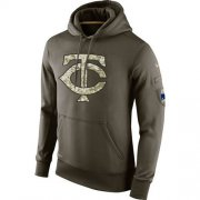 Wholesale Cheap Men's Minnesota Twins Nike Olive Salute To Service KO Performance Hoodie