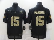 Wholesale Cheap Men's Kansas City Chiefs #15 Patrick Mahomes Black Camo 2020 Salute To Service Stitched NFL Nike Limited Jersey