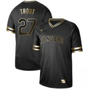 Wholesale Cheap Nike Angels of Anaheim #27 Mike Trout Black Gold Authentic Stitched MLB Jersey