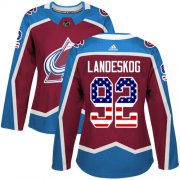 Wholesale Cheap Adidas Avalanche #92 Gabriel Landeskog Burgundy Home Authentic USA Flag Women's Stitched NHL Jersey