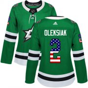 Cheap Adidas Stars #2 Jamie Oleksiak Green Home Authentic USA Flag Women's Stitched NHL Jersey