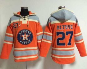 Wholesale Cheap Astros #27 Jose Altuve Orange Sawyer Hooded Sweatshirt MLB Hoodie