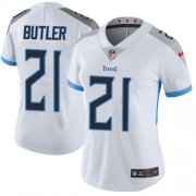 Wholesale Cheap Nike Titans #21 Malcolm Butler White Women's Stitched NFL Vapor Untouchable Limited Jersey