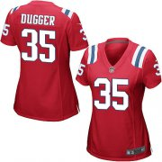 Wholesale Cheap Nike Patriots #35 Kyle Dugger Red Alternate Women's Stitched NFL Elite Jersey