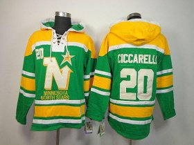 Wholesale Cheap Stars #20 Dino Ciccarelli Green Sawyer Hooded Sweatshirt Stitched NHL Jersey