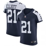 Wholesale Cheap Nike Cowboys #21 Ezekiel Elliott Navy Blue Thanksgiving Men's Stitched NFL Vapor Untouchable Throwback Elite Jersey