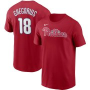 Wholesale Cheap Philadelphia Phillies #18 Didi Gregorius Nike Name & Number T-Shirt Red