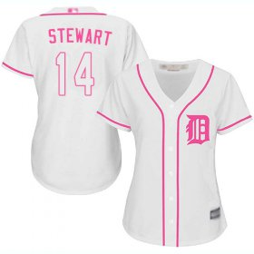 Wholesale Cheap Tigers #14 Christin Stewart White/Pink Fashion Women\'s Stitched MLB Jersey