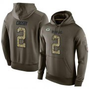 Wholesale Cheap NFL Men's Nike Green Bay Packers #2 Mason Crosby Stitched Green Olive Salute To Service KO Performance Hoodie