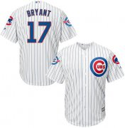 Wholesale Cheap Cubs #17 Kris Bryant White Strip New Cool Base with 100 Years at Wrigley Field Commemorative Patch Stitched MLB Jersey