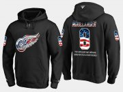 Wholesale Cheap Red Wings #8 Justin Abdelkader NHL Banner Wave Usa Flag Black Hoodie