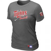 Wholesale Cheap Women's Minnesota Twins Nike Short Sleeve Practice MLB T-Shirt Crow Grey