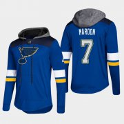 Wholesale Cheap Blues #7 Patrick Maroon Blue 2018 Pullover Platinum Hoodie