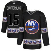 Wholesale Cheap Adidas Islanders #15 Cal Clutterbuck Black Authentic Team Logo Fashion Stitched NHL Jersey