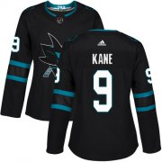 Wholesale Cheap Adidas Sharks #9 Evander Kane Black Alternate Authentic Women's Stitched NHL Jersey