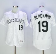 Wholesale Cheap Rockies #19 Charlie Blackmon White Strip Flexbase Authentic Collection Stitched MLB Jersey