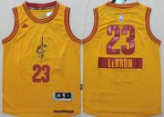 Cheap Cleveland Cavaliers #23 LeBron James 2014 Christmas Day Yellow Kids Jersey
