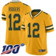 Wholesale Cheap Nike Packers #12 Aaron Rodgers Gold Men's Stitched NFL Limited Inverted Legend 100th Season Jersey