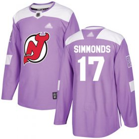 Wholesale Cheap Adidas Devils #17 Wayne Simmonds Purple Authentic Fights Cancer Stitched NHL Jersey