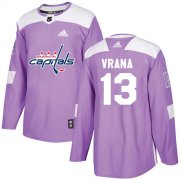 Wholesale Cheap Adidas Capitals #13 Jakub Vrana Purple Authentic Fights Cancer Stitched NHL Jersey