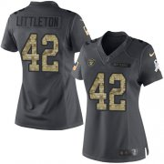 Wholesale Cheap Nike Raiders #42 Cory Littleton Black Women's Stitched NFL Limited 2016 Salute to Service Jersey