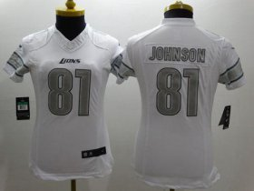 Wholesale Nike Lions #81 Calvin Johnson White Women\'s Stitched NFL Limited Platinum Jersey