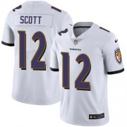 Wholesale Cheap Nike Ravens #12 Jaleel Scott White Men's Stitched NFL Vapor Untouchable Limited Jersey