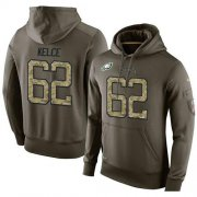 Wholesale Cheap NFL Men's Nike Philadelphia Eagles #62 Jason Kelce Stitched Green Olive Salute To Service KO Performance Hoodie