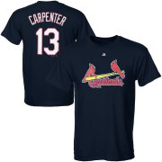 Wholesale Cheap St. Louis Cardinals #13 Matt Carpenter Majestic Official Name and Number T-Shirt Navy