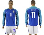 Wholesale Cheap Brazil #11 Oscar Away Long Sleeves Soccer Country Jersey