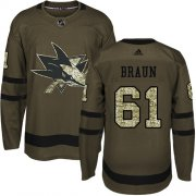 Wholesale Cheap Adidas Sharks #61 Justin Braun Green Salute to Service Stitched NHL Jersey