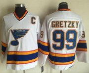 Wholesale Cheap Blues #99 Wayne Gretzky White/Yellow CCM Throwback Stitched NHL Jersey