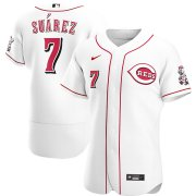 Wholesale Cheap Cincinnati Reds #7 Eugenio Suarez Men's Nike White Home 2020 Authentic Player MLB Jersey