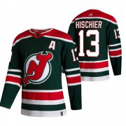 Wholesale Cheap New Jersey Devils #13 Nico Hischier Green Men's Adidas 2020-21 Reverse Retro Alternate NHL Jersey