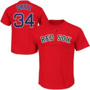 Wholesale Cheap Boston Red Sox #34 David Ortiz Majestic Official Name and Number T-Shirt Red