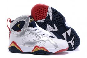 Wholesale Cheap Kids\' Air Jordan 7 Retro Shoes White/silver-blue-red-gold