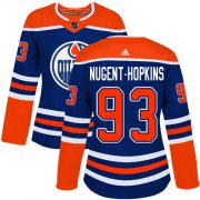 Wholesale Cheap Adidas Oilers #93 Ryan Nugent-Hopkins Royal Alternate Authentic Women's Stitched NHL Jersey