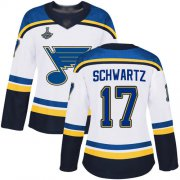 Wholesale Cheap Adidas Blues #17 Jaden Schwartz White Road Authentic Stanley Cup Champions Women's Stitched NHL Jersey