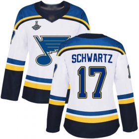 Wholesale Cheap Adidas Blues #17 Jaden Schwartz White Road Authentic Stanley Cup Champions Women\'s Stitched NHL Jersey