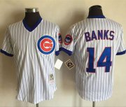 Wholesale Cheap Mitchell And Ness Cubs #14 Ernie Banks White(Blue Strip) Throwback Stitched MLB Jersey