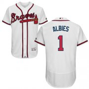 Wholesale Cheap Braves #1 Ozzie Albies White Flexbase Authentic Collection Stitched MLB Jersey