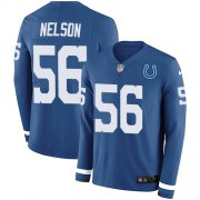 Wholesale Cheap Nike Colts #56 Quenton Nelson Royal Blue Team Color Men's Stitched NFL Limited Therma Long Sleeve Jersey
