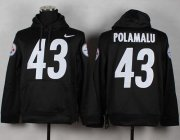 Wholesale Cheap Pittsburgh Steelers #43 Troy Polamalu Black Pullover NFL Hoodie