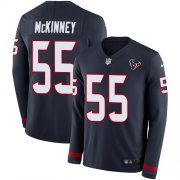 Wholesale Cheap Nike Texans #55 Benardrick McKinney Navy Blue Team Color Men's Stitched NFL Limited Therma Long Sleeve Jersey