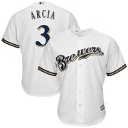 Wholesale Cheap Milwaukee Brewers #3 Orlando Arcia Majestic Cool Base Home Player Jersey White