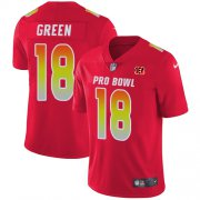 Wholesale Cheap Nike Bengals #18 A.J. Green Red Men's Stitched NFL Limited AFC 2018 Pro Bowl Jersey
