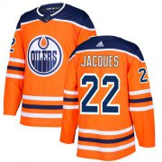 Wholesale Cheap Adidas Oilers #22 Jean-Francois Jacques Orange Home Authentic Stitched NHL Jersey